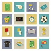 Soccer Flat Icons Set With Shadows