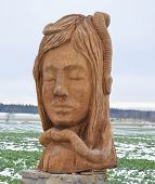 Woman's Head Made Of Wood