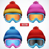 foto of knitted cap  - Set of Knitted woolen cap with snow goggles - JPG