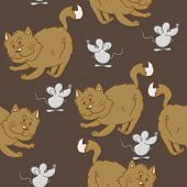 cat and mouse seamless pattern
