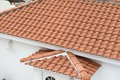 High Angle View Of Pan Tile Roof.