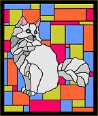 picture of melchior  - stained glass window depicting very fluffy and beautiful cats on a colored background - JPG