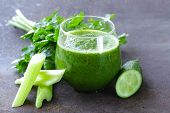 stock photo of kale  - fresh green juice from celery - JPG