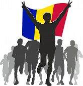 Athlete with the Andorra flag at the finish