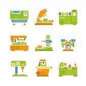 Set Flat Icons Of Machine Tool