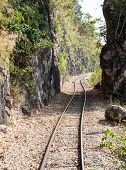 picture of split rail fence  - Defile railway line near the high mountain - JPG