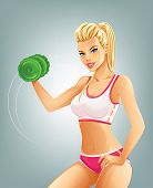 Slim fit woman lifting dumbbell