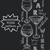 foto of cocktail menu  - Vertical seamless pattern with sketched glasses for red wine white wine martini and cocktail on chalkboard background - JPG