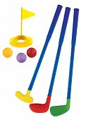 Plastic Golf Toy Set Isolated