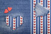 foto of applique  - Heart symbol in denim trimmed with other tissue - JPG