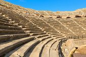 Amphitheatre with lots empty seats, ancient ruins in Side Turkey.