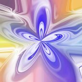 Abstract Pastel Colored Bloom Shape In Violet And Yellow
