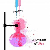 image of reagent  - Funny card  chemistry of love with reagents symbolizing the relationship between man and woman - JPG