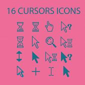 16 cursors icons, signs, silhouettes set, vector
