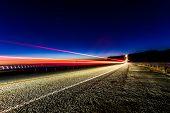 Vehicle Light Trails on Highway