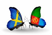 Two Butterflies With Flags On Wings As Symbol Of Relations Sweden And Eritrea