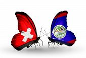 Two Butterflies With Flags On Wings As Symbol Of Relations Switzerland And Belize