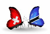 Two Butterflies With Flags On Wings As Symbol Of Relations Switzerland And Botswana