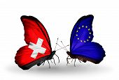 Two Butterflies With Flags On Wings As Symbol Of Relations Switzerland And Eu