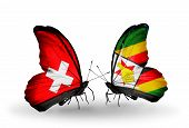 Two Butterflies With Flags On Wings As Symbol Of Relations Switzerland And Zimbabwe