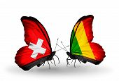 Two Butterflies With Flags On Wings As Symbol Of Relations Switzerland And Mali