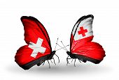 Two Butterflies With Flags On Wings As Symbol Of Relations Switzerland And Tonga