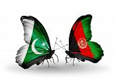Two Butterflies With Flags On Wings As Symbol Of Relations Pakistan And  Afghanistan
