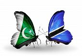 Two Butterflies With Flags On Wings As Symbol Of Relations Pakistan And Botswana