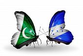 Two Butterflies With Flags On Wings As Symbol Of Relations Pakistan And Honduras