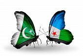 Two Butterflies With Flags On Wings As Symbol Of Relations Pakistan And Djibouti