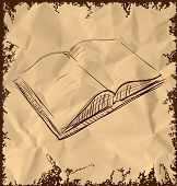 Open book icon isolated on vintage background