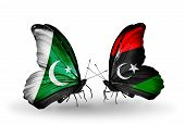 Two Butterflies With Flags On Wings As Symbol Of Relations Pakistan And Libya