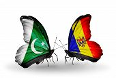 Two Butterflies With Flags On Wings As Symbol Of Relations Pakistan And Moldova