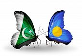 Two Butterflies With Flags On Wings As Symbol Of Relations Pakistan And Palau