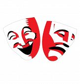 Red and black theater masks on white background