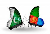 Two Butterflies With Flags On Wings As Symbol Of Relations Pakistan And Eritrea