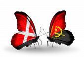 Two Butterflies With Flags On Wings As Symbol Of Relations Denmark And Angola
