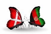 Two Butterflies With Flags On Wings As Symbol Of Relations Denmark And Afghanistan