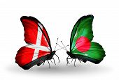 Two Butterflies With Flags On Wings As Symbol Of Relations Denmark And Bangladesh