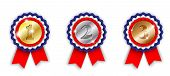 picture of award-winning  - award ribbons 1st 2nd and 3rd place on white background vector illustration eps 10 with transparency and gradient meshes - JPG