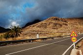 Winding road in Parque Natural de Pilancones, Gran Canaria, Spain