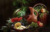 Wine, Cheese, Water-melon, Grapes, Apples, Plums And A Clay Jug
