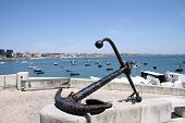 Anchor On Background Fishing Harbor In Cascais