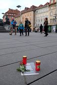 GRAZ, AUSTRIA - JANUARY 10th, 2015: We are Charlie, Journalists of Kleine Zeitug honor the murdered colleagues on the main square, on January 10th, 2015 in Graz, Austria