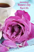 Happy International Womens Day Greeting With Pink Rose And Afternoon Tea Tray On Pink Background Wit