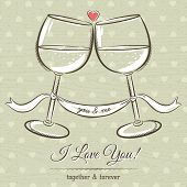 Romantic Card With Two Glass Of Wine And Wishes Text,  Vector