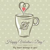Valentine Card With Cup Of Hot Drink And Wishes Text,  Vector Illustration