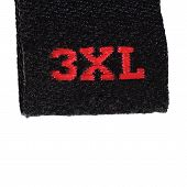 3Xl Size Clothing Label Tag, Black Fabric, Red Xxxl Embroidery Text Isolated Vertical Large Detailed
