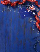 Happy Australia Day, January 26, Theme Dark Blue Vintage Distressed Wood Background With Australian