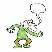 stock photo of goblin  - cartoon goblin with speech bubble - JPG